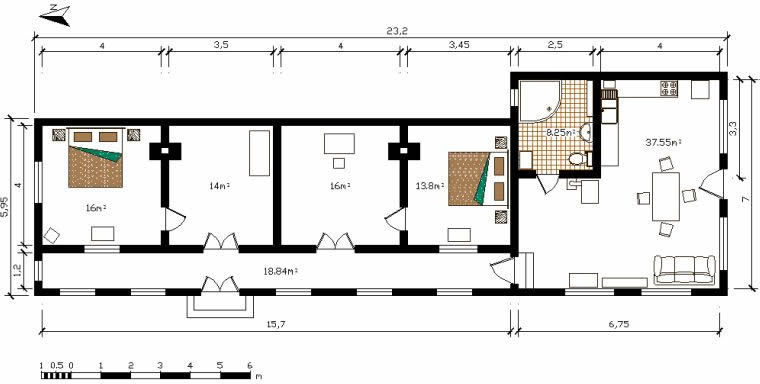 """Pelican"" holiday home (126 m²) : Plan of the house"